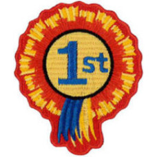 """1st Rosette Embroidered Patch 8cm x 6cm (3"""" x 21/2"""")"""