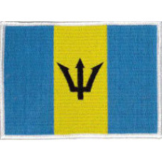 """Barbados Flag Embroidered Patch 12cm x 9cm (4 1/2"""" x 3 1/2"""")"""