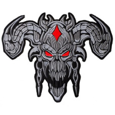 Devil (Grey) Back Embroidered Patch 12 x 9 1/4 inch (30cm x 23.5cm)
