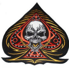 """Ace of Spades with Skull and Rhinestones Back Patch 25cm x 25cm (10 1/4"""" x 10 1/4"""")"""