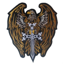 """Eagle Sword (Gold) Embroidered Back Patch 25cm x 30cm (10"""" x 12"""")"""