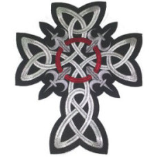 """Celtic Cross (Embroidered) Back Patch 22cm x 26cm (8 1/2"""" X 10 1/2"""")"""