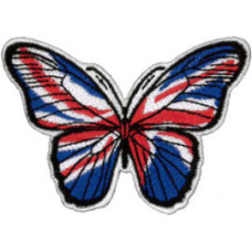 """Butterfly (Union jack) Embroidered Patch 8cm x 5.5cm (3 1/4"""" x 2 1/4"""")"""