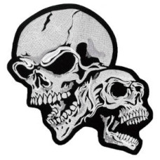 """Double Skull Embroidered Back Patch 16cm X 22cm (6 1/2"""" X 8 3/4"""")"""