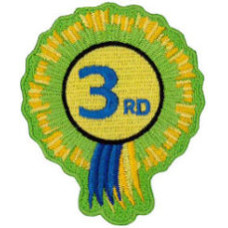 """3rd Rosette Embroidered Patch 8cm x 6cm (3"""" x 2"""")"""