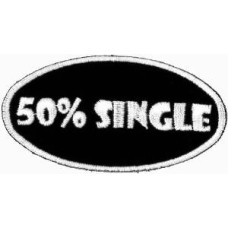 """50% Single Embroidered Patch 7cm x 3.6cm (2 3/4"""" x 1 1/2"""")"""