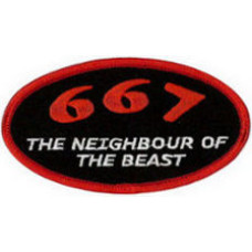 """667 The Neighbour of the Beast Embroidered Patch 10cm X 5.5cm (4"""" X 2 1/4"""")"""