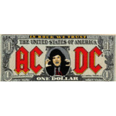 "AC/DC - Banknote Woven Patch 16cm X 6.5cm (6"" X 2 1/4"")"