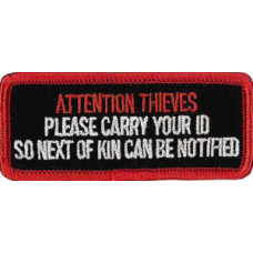 """Attention Thieves Embroidered Patch 8cm x 3.5cm (3""""1 1/4"""")"""