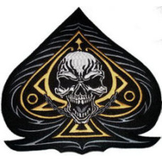 """Ace of Spades with Skull (GOLD) Back Patch 26cm x 26cm (10 1/4"""" x 10 1/4"""")"""
