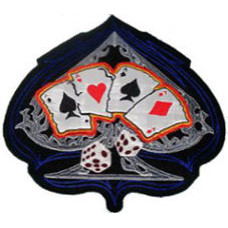 """Ace of Spades with Cards and Dice Back Patch  26cm x 26cm (10 1/4"""" x 10 1/4"""")"""