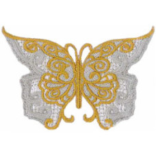 """Butterfly Lace Embroidered Patch 7cm x 5cm (2 3/4"""" X 1 3/4"""")"""