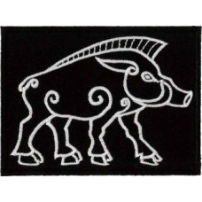 Celtic Boar Embroidered Patch 9cm x 6.5cm