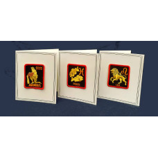 Greetings Card with Zodiac Sign Patch, Aquarius, Leo or Pisces