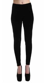 Womens - Black Velvet Leggings by Pamela Mann