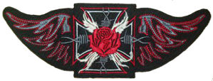 Maltese Cross Wing Red Rose Back Patch