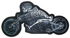 Skeleton on a Motorbike Back Patch
