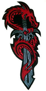 Dragon & Sword Embroidered Back Patch