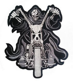 Reaper on Motorbike Back Patch 25cm x 30cm
