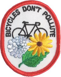 "Bicycles Dont Pollute Patch 7cm x 5.5cm (2 3/4"" X 2-1/4"")"