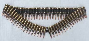 Bullet & Black Link Belt 7.62 Copper Tipped
