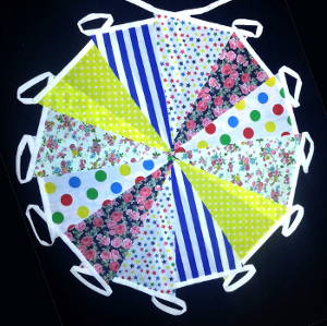 Fabric Bunting 30ft Long (approx) Mixed designs Hand made