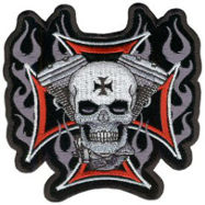 Cross Motor Skull Embroidered Patch