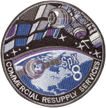 CRS SpaceX 8 Embroidered Patch 10cm Dia