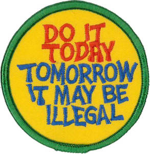 Do It Today, Tomorrow It May Be Illegal Embroidered Patch