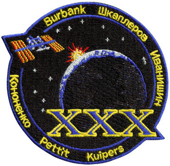 International Space Station Expedition 30 Embroidered Patch, 10cm x 10cm