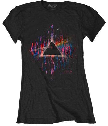 Pink Floyd Womens Tshirt: Dark Side of the Moon Pink Splatter