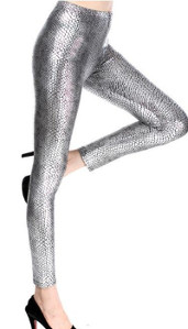 Womens Snakeskin(ish) Pattern (Silver) Stretch Leggings