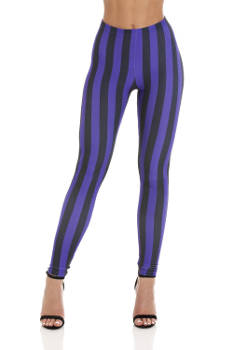 Womens - Striped Purple/Black - Leggings