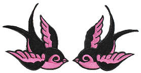Swallows (Black/Pink) Patch